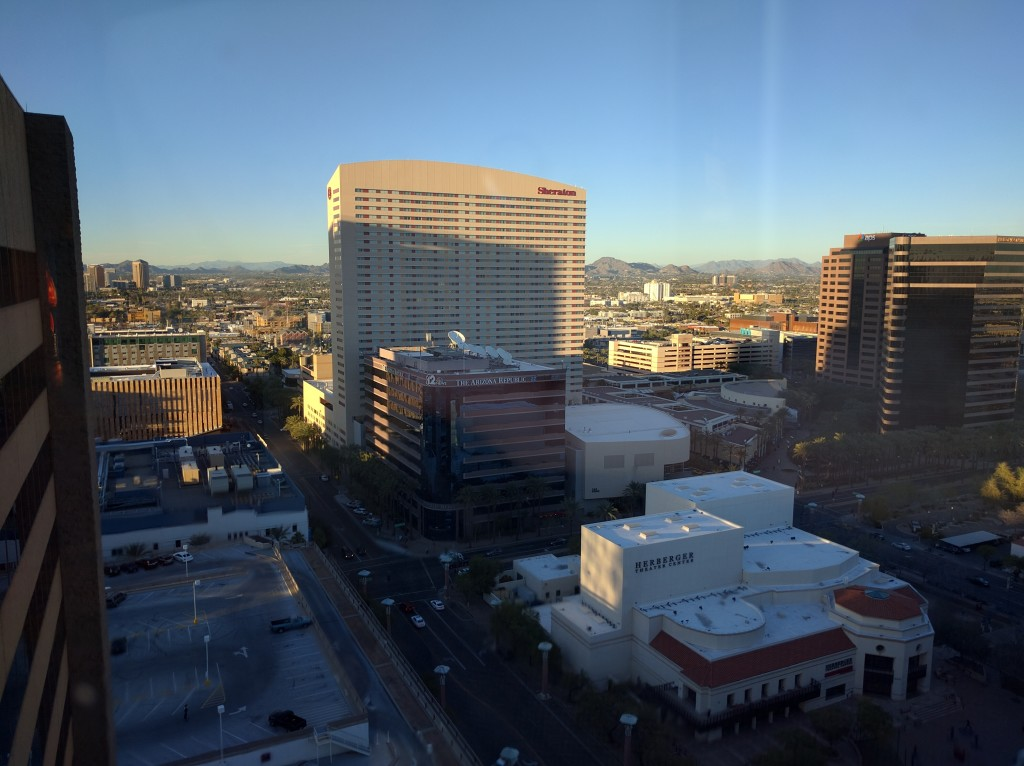 Overview of Phoneix, Arizona from the Compass Arizona Grill at the top of the Hyatt Regency