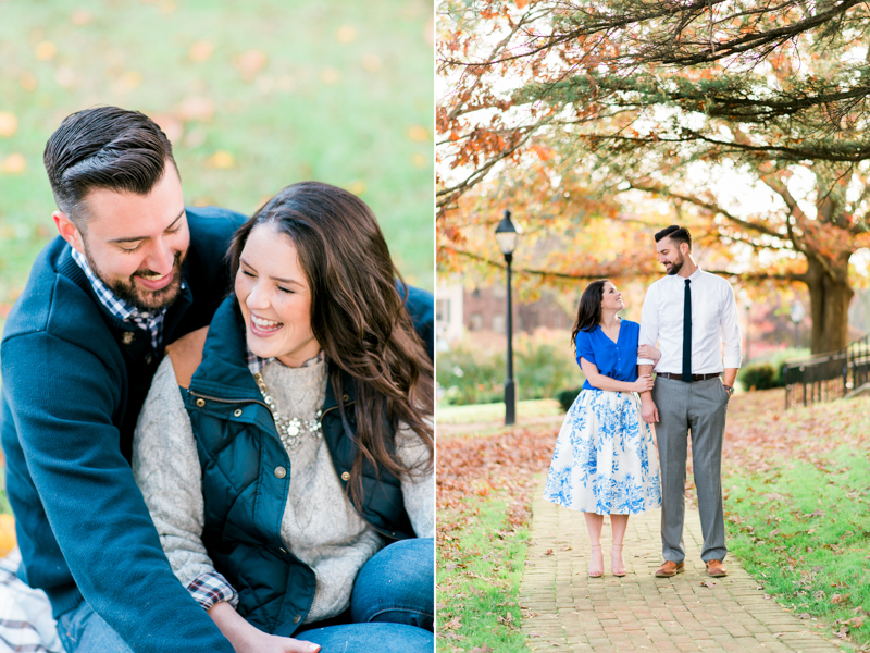 Couple at engagement session cuddling and wearing cute outfits