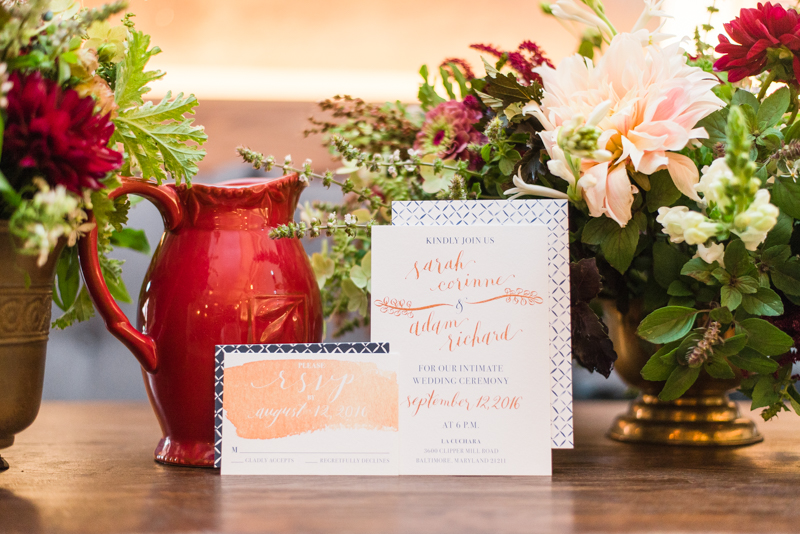 Wedding invitations at La Cuchara Baltimore styled shoot