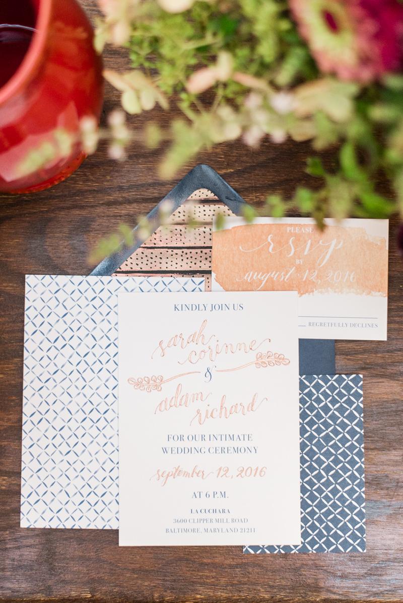 Wedding invitations at La Cuchara Baltimore styled shoot