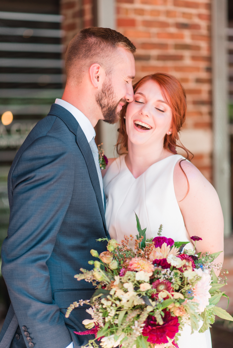 Wedding bouquet bride and groom at La Cuchara Baltimore styled shoot