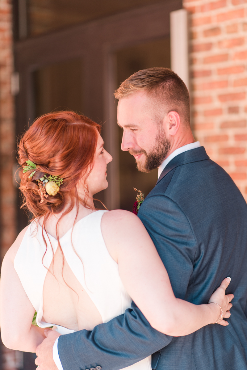 Wedding bride and groom at La Cuchara Baltimore styled shoot