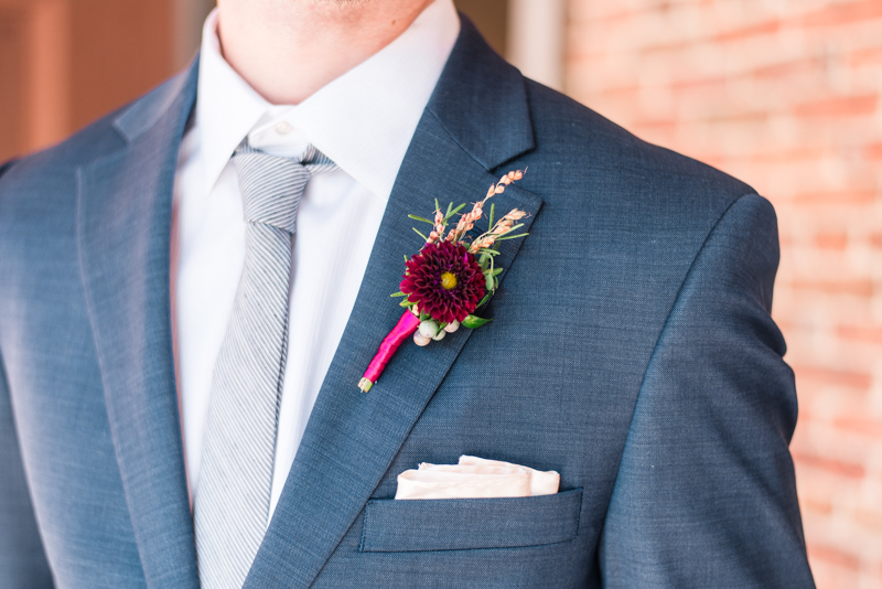 Wedding boutonniere florals by Local Color Flowers at La Cuchara Baltimore styled shoot