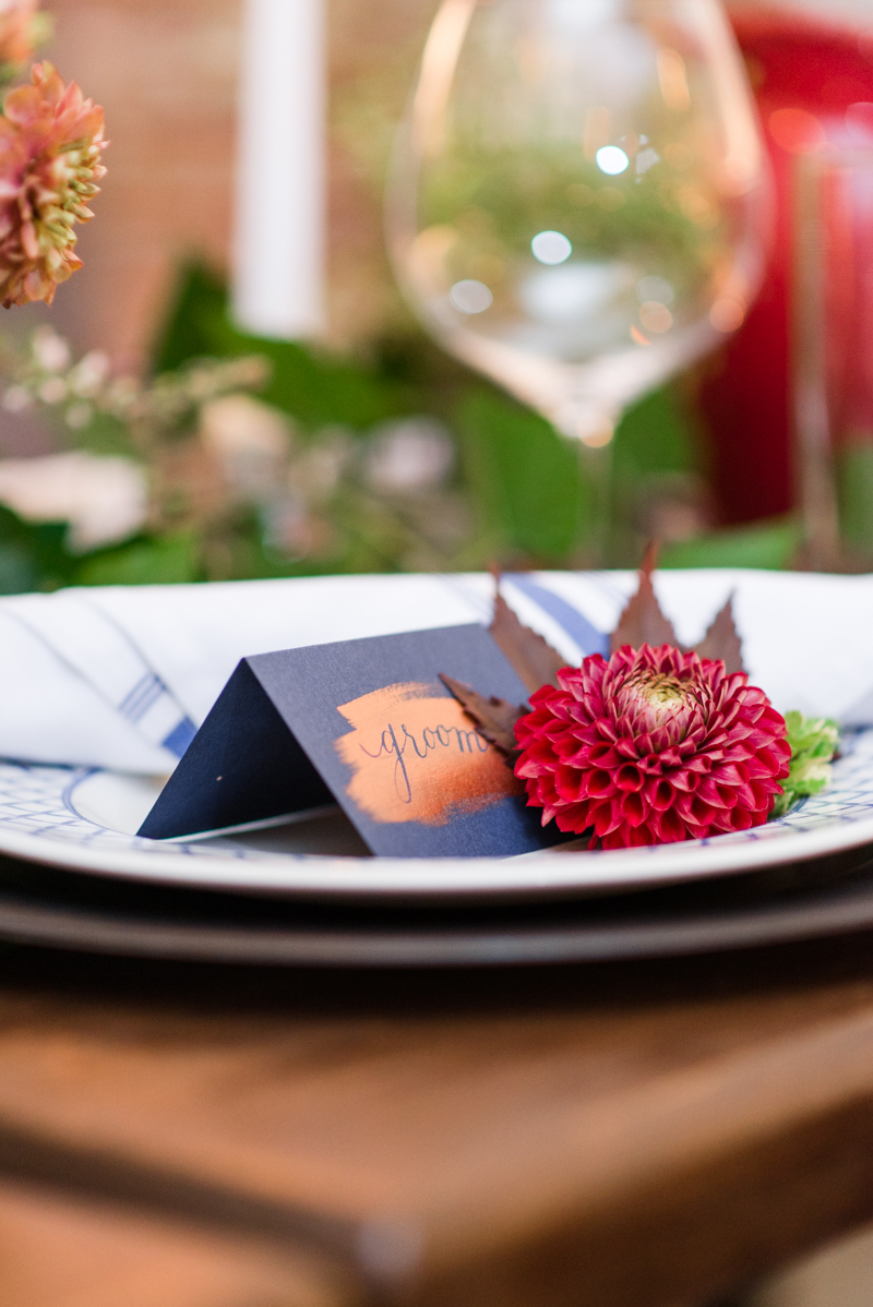 Wedding placecards at La Cuchara Baltimore styled shoot