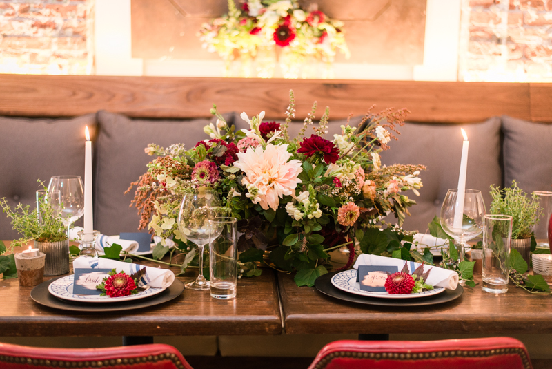 Wedding reception centerpiece florals by Local Color Flowers at La Cuchara Baltimore styled shoot