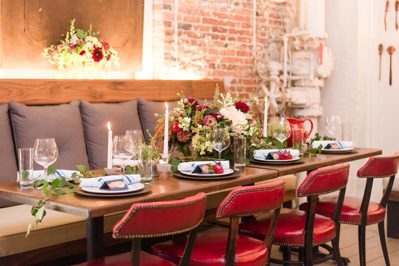 Wedding reception at La Cuchara Baltimore styled shoot