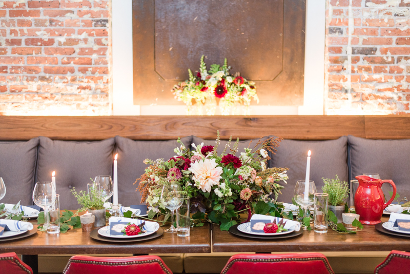 Wedding reception florals by Local Color Flowers at La Cuchara Baltimore styled shoot