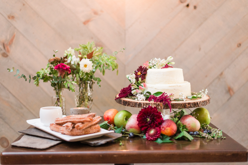 Wedding reception dessert table churros at La Cuchara Baltimore styled shoot