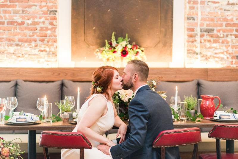 Wedding reception bride and groom at La Cuchara Baltimore styled shoot