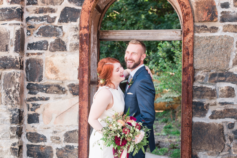 Wedding bride and groom at Clipper Mill, Maryland