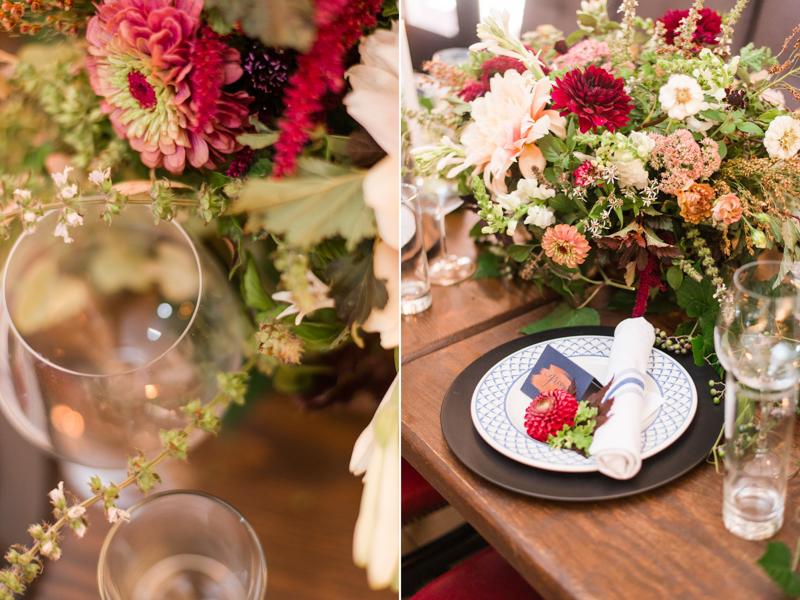 Wedding reception centerpiece at La Cuchara Baltimore styled shoot