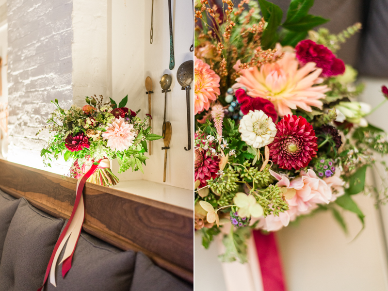 Wedding bouquet florals by Local Color Flowers at La Cuchara Baltimore styled shoot
