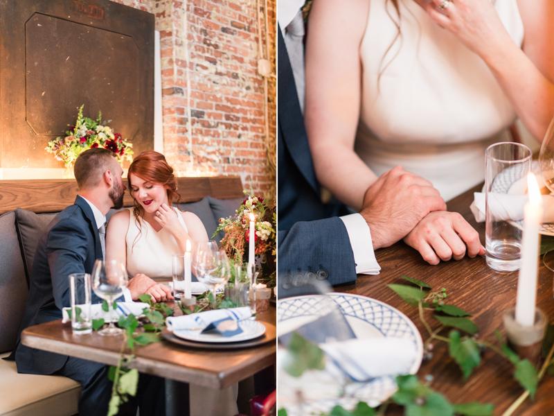 Wedding reception bride and groom at La Cuchara Baltimore styled shoot