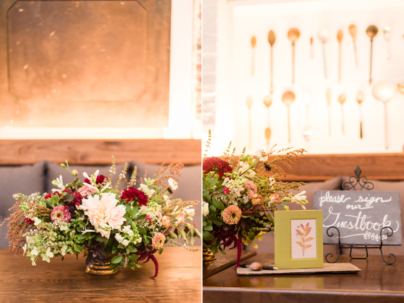 Wedding reception guestbook at La Cuchara Baltimore styled shoot