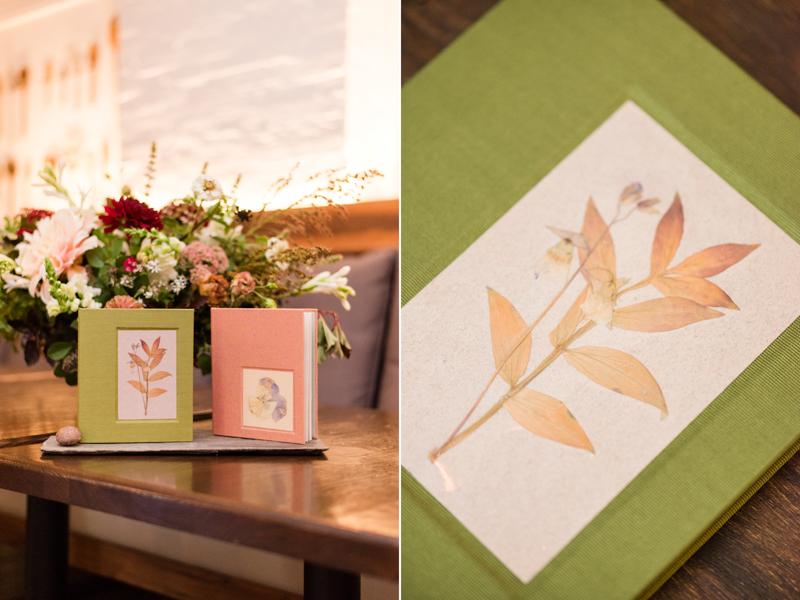 Wedding reception guestbook at La Cuchara Baltimore styled shoot