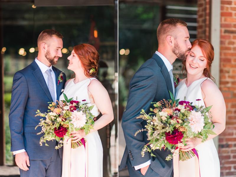 Wedding bride and groom at La Cuchara Baltimore styled shoot