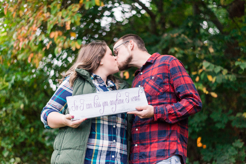 Fall engagement session with sign in Granite Hill Camping Resort