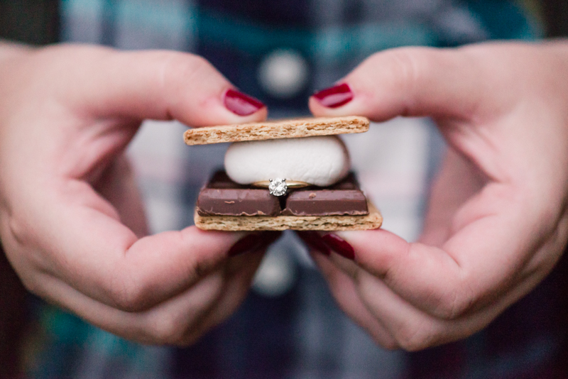 Fall engagement ring in smores at Granite Hill Camping Resort