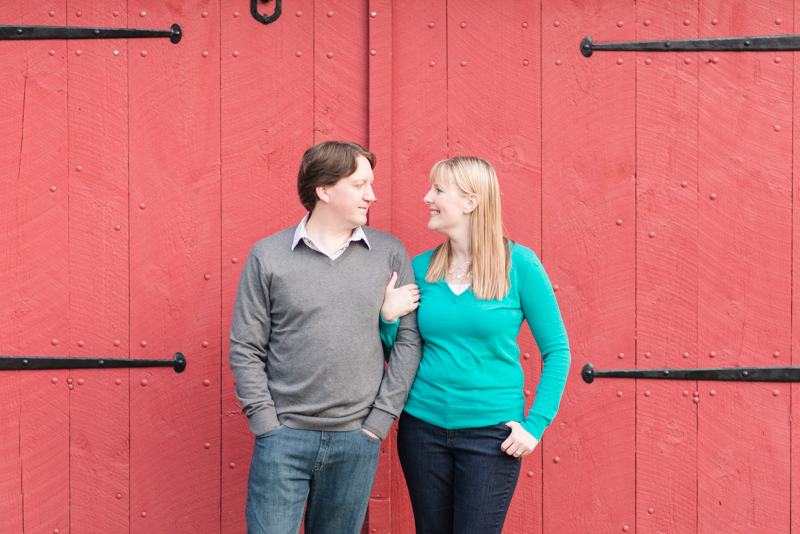 Jerusalem Mill red barn engagement session in maryland