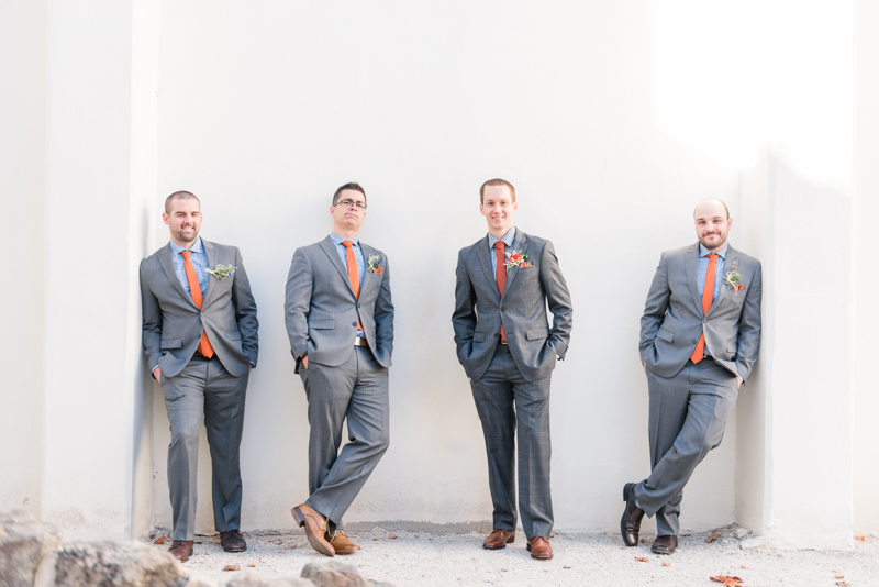 patapsco female institute ellicott city fall wedding groomsmen
