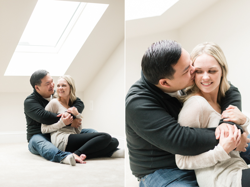clarksburg maryland home engagement photography wedding couple