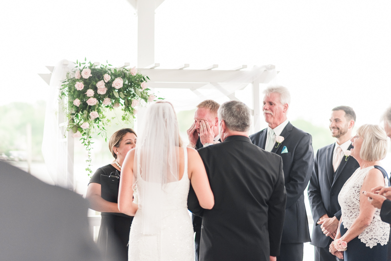 wedding photographers in maryland anchor inn pasadena groom crying ceremony