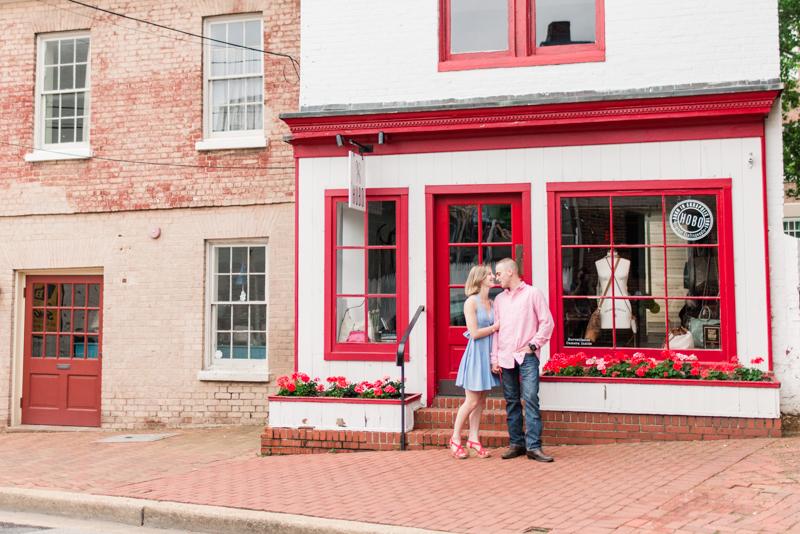 Wedding Photographers in Maryland Downtown Annapolis Engagement Session Sunrise Pastel Main Street Hobo Flagship