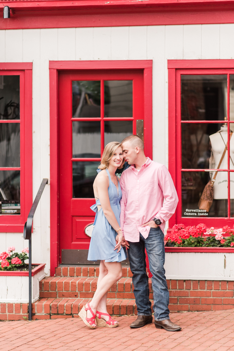 Wedding Photographers in Maryland Downtown Annapolis Engagement Session Sunrise Pastel Main Street Hobo Flagship