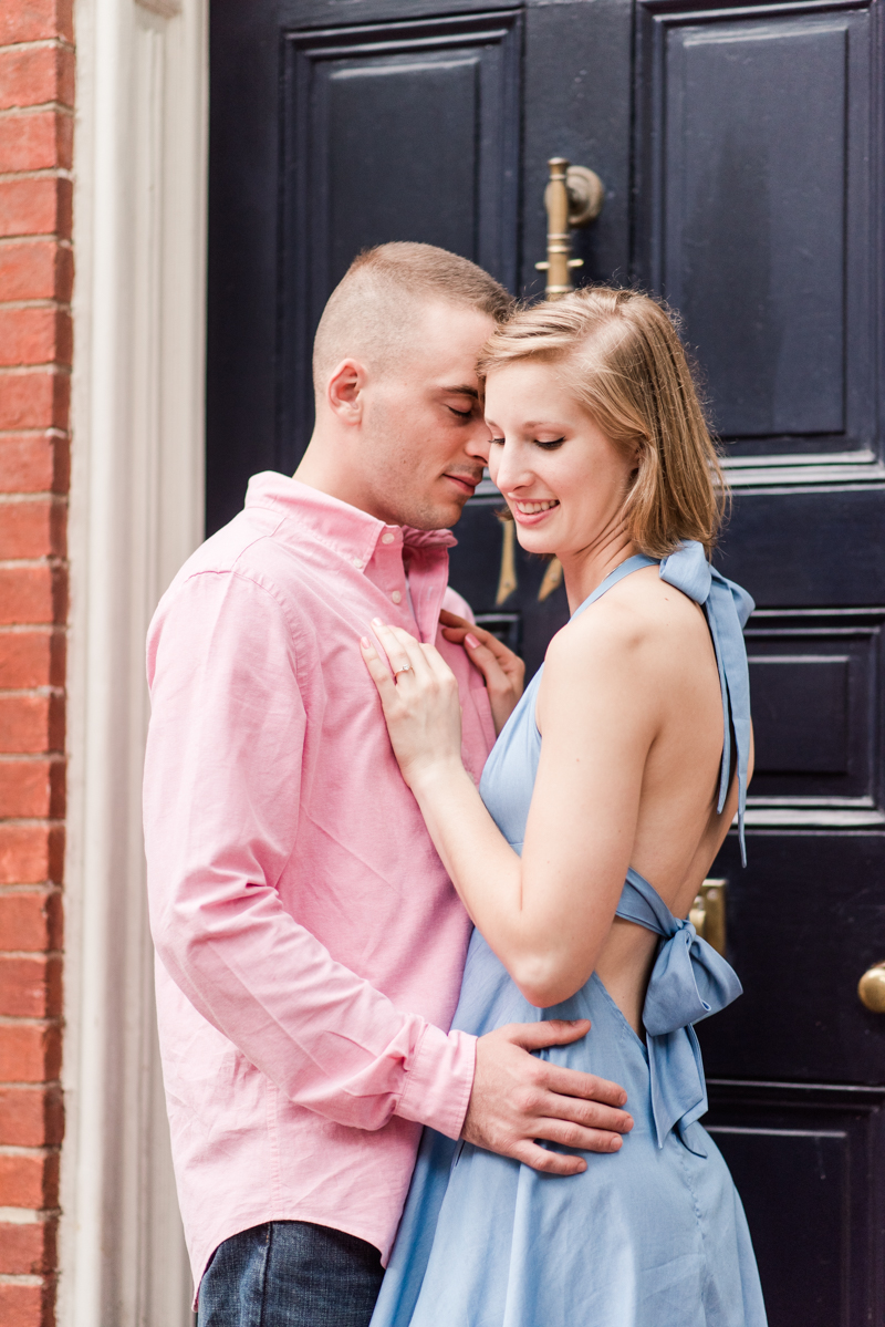 Wedding Photographers in Maryland Downtown Annapolis Engagement Session Sunrise Pastel Main Street