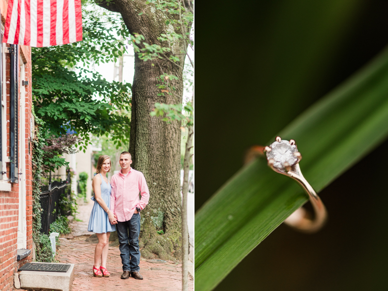 Wedding Photographers in Maryland Downtown Annapolis Engagement Session Sunrise Pastel Main Street Ring