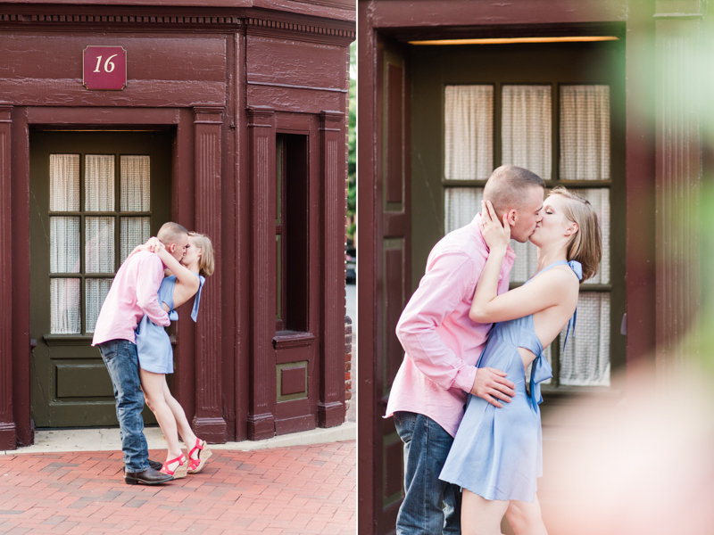 Wedding Photographers in Maryland Inn Downtown Annapolis Engagement Session Sunrise Pastel Main Street