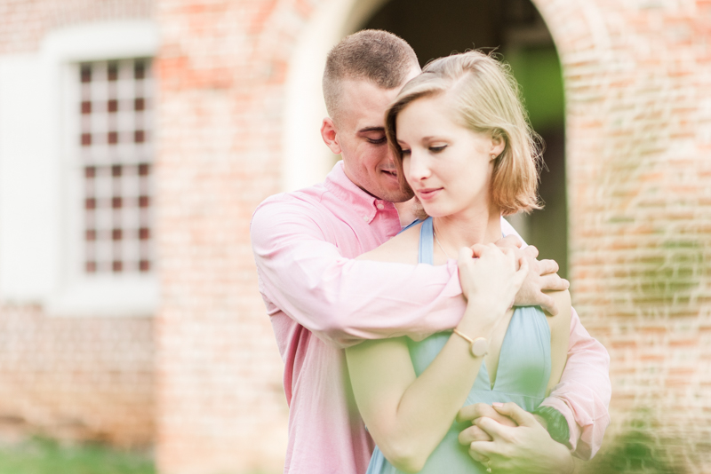 Wedding Photographers in Maryland Downtown Annapolis Engagement Session Sunrise Pastel State House