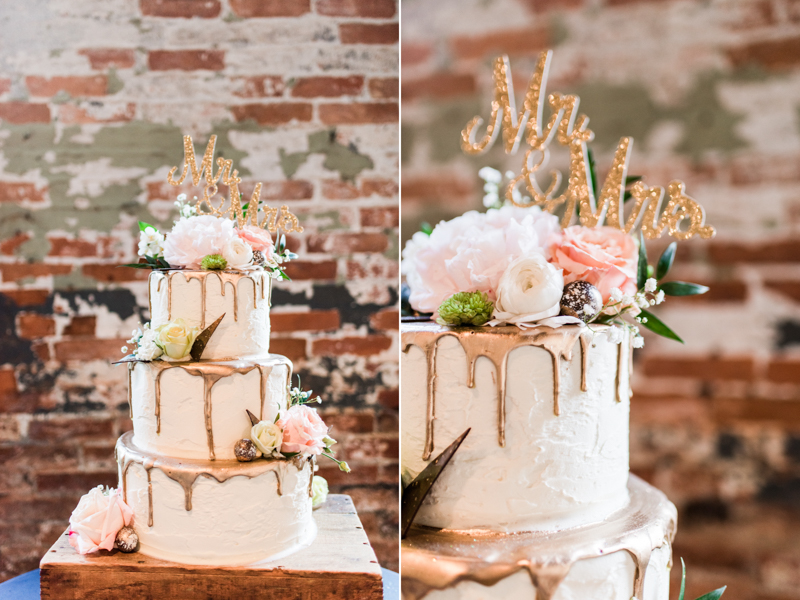 wedding photographers in maryland mt. washington mill dye house baltimore copper kitchen cake