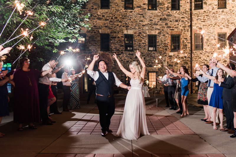 wedding photographers in maryland mt. washington mill dye house baltimore sparkler exit