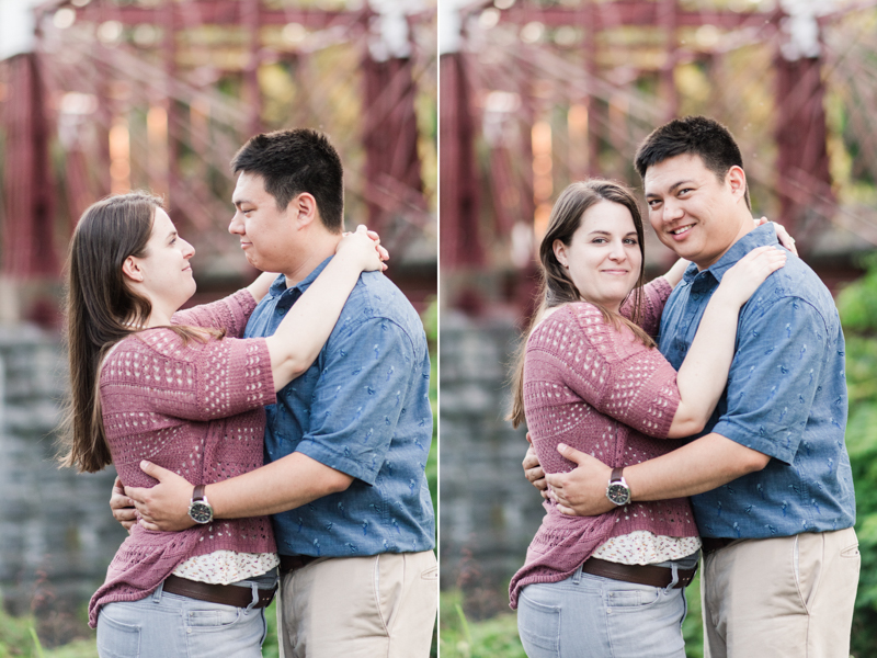 Wedding Photographers in Maryland Historic Savage Mill Engagement Session Bridge