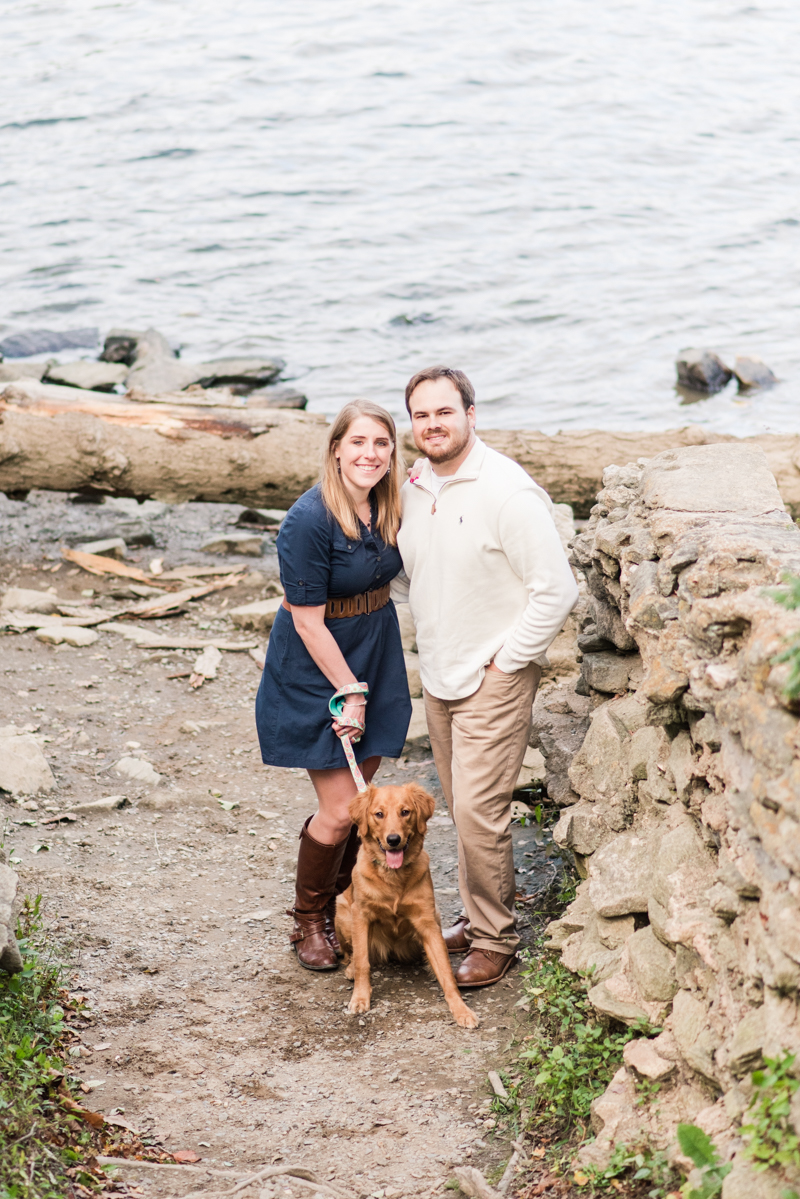 Wedding Photographers in Maryland Susquehanna State Park Engagement Session Sunset Dog
