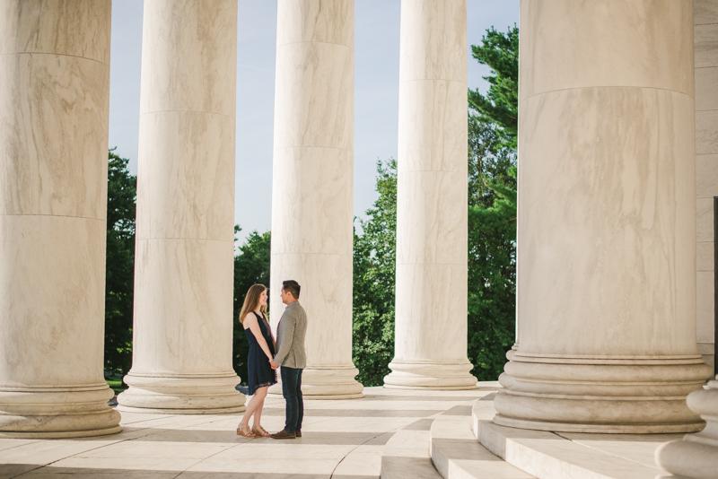 Maryland Wedding Photographers Washington DC Sunrise Engagement Session Jefferson Memorial