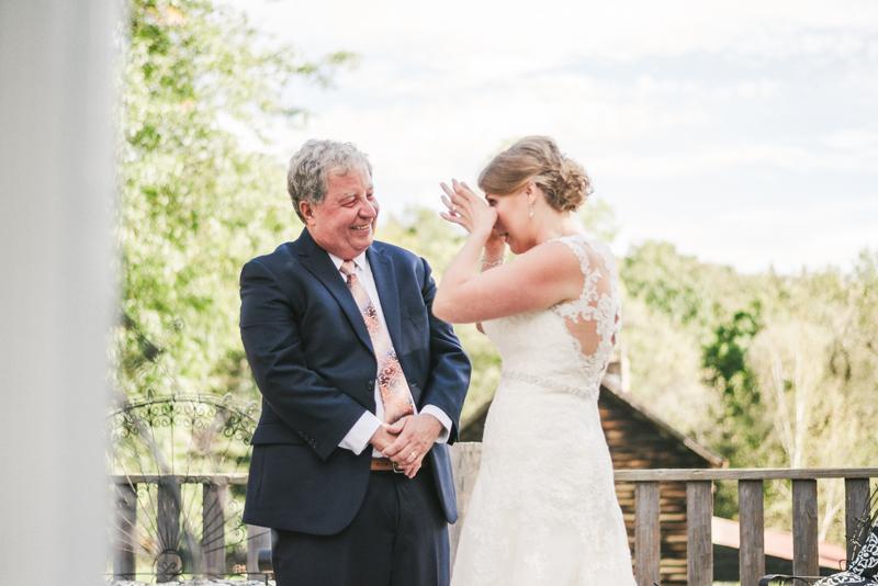 Chanteclaire Farm Wedding Photographer Friendsville Maryland father daughter first look