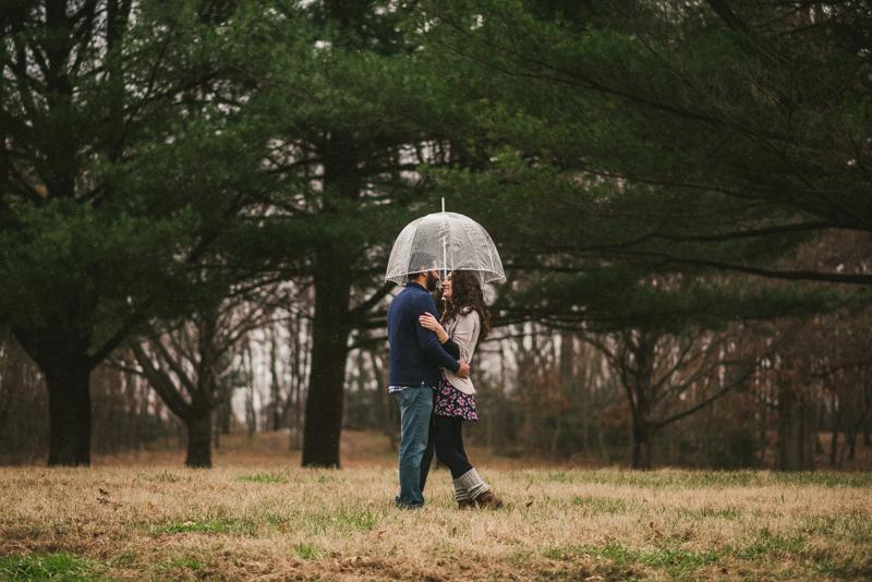 Kinder Farm Engagement Session Maryland Wedding Photographer Umbrella Rain