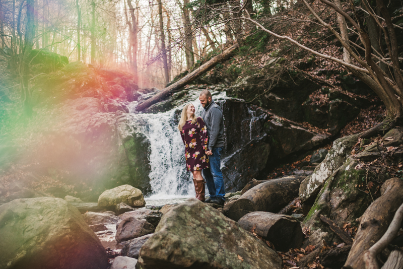 Wedding Photographers in Maryland Patapsco Valley Park Baltimore Engagement Session Cascade Trail Waterfall