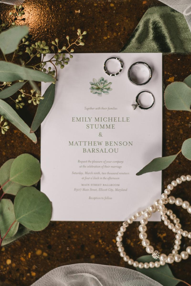 Wedding Photographers in Maryland Main Street Ballroom Ellicott City Invitation Suite Blonde and Brindle