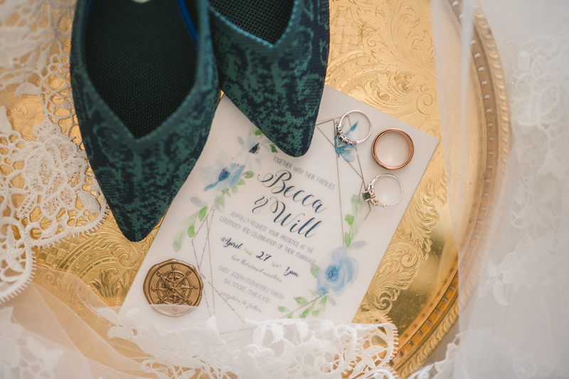 Industrial chic April wedding invitation suite and shoes in Baltimore City's Radisson Hotel by Britney Clause Photography