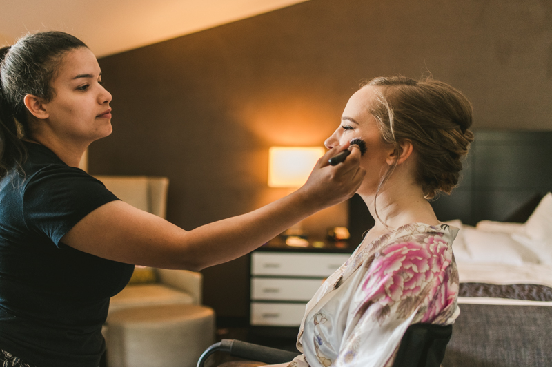 Industrial chic April wedding makeup by Dettloff Makeup in Baltimore City's Radisson Hotel by Britney Clause Photography