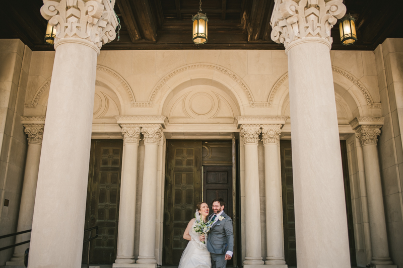 Industrial chic April wedding bride and groom's first look in Baltimore City's St. Joseph's Monastery Parish by Britney Clause Photography