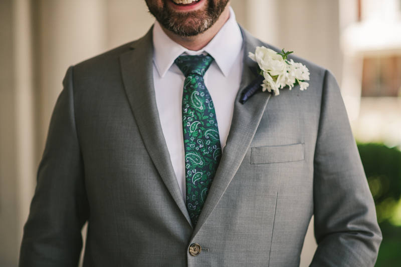 Industrial chic April wedding groom detail in Baltimore City's St. Joseph's Monastery Parish by Britney Clause Photography