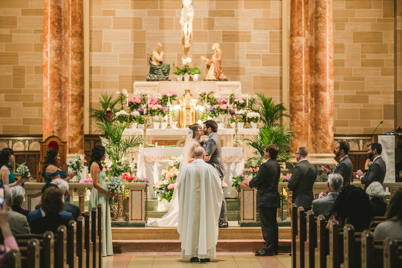 Industrial chic April wedding ceremony in Baltimore City's St. Joseph's Monastery Parish by Britney Clause Photography