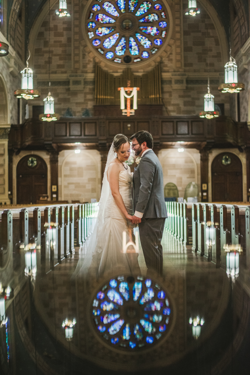 Industrial chic April wedding bride and groom portraits in Baltimore City St. Joseph's Monastery Parish by Britney Clause Photography