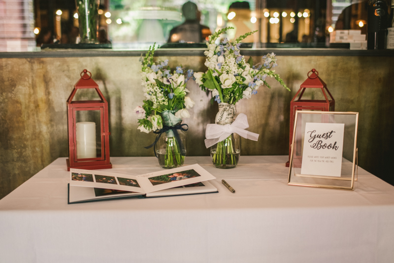 Industrial chic April wedding reception guest book table in Baltimore City at La Cuchara by Britney Clause Photography