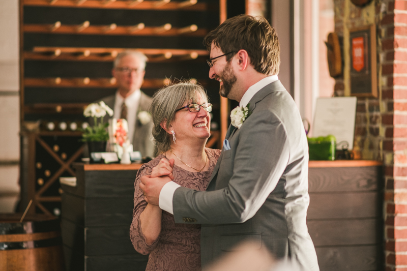 Industrial chic April wedding reception in Baltimore City at La Cuchara by Britney Clause Photography