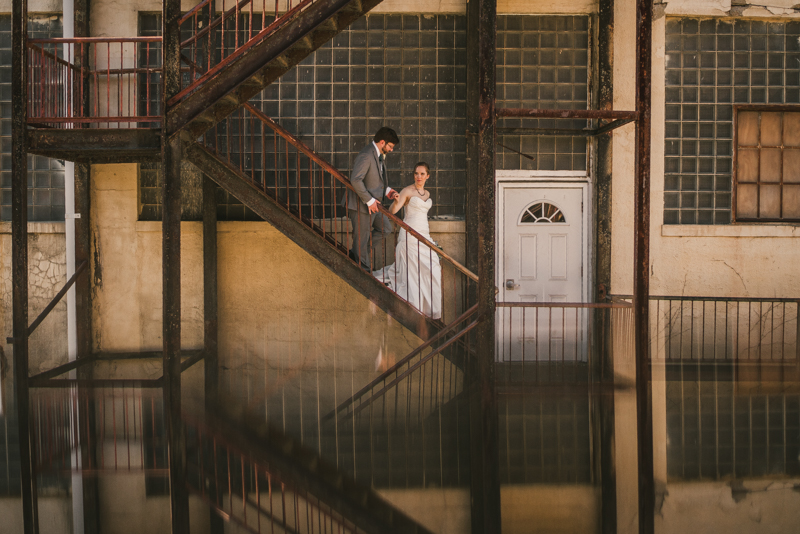 Industrial chic April wedding bride and groom portraits in Baltimore City at Clipper Mill by Britney Clause Photography